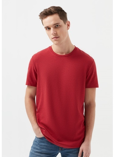Mavi Dokulu Kırmızı Basic Tişört Kırmızı
